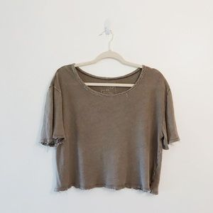 We The Free Raw Edge Linen Cropped T-shirt